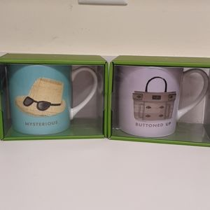 Set of Kate Spade Mugs NIB Buttoned Up Mysterious